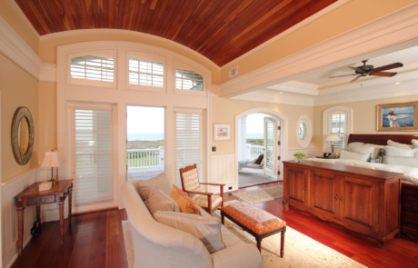 Character ceiling in master bed with stunning ocean view