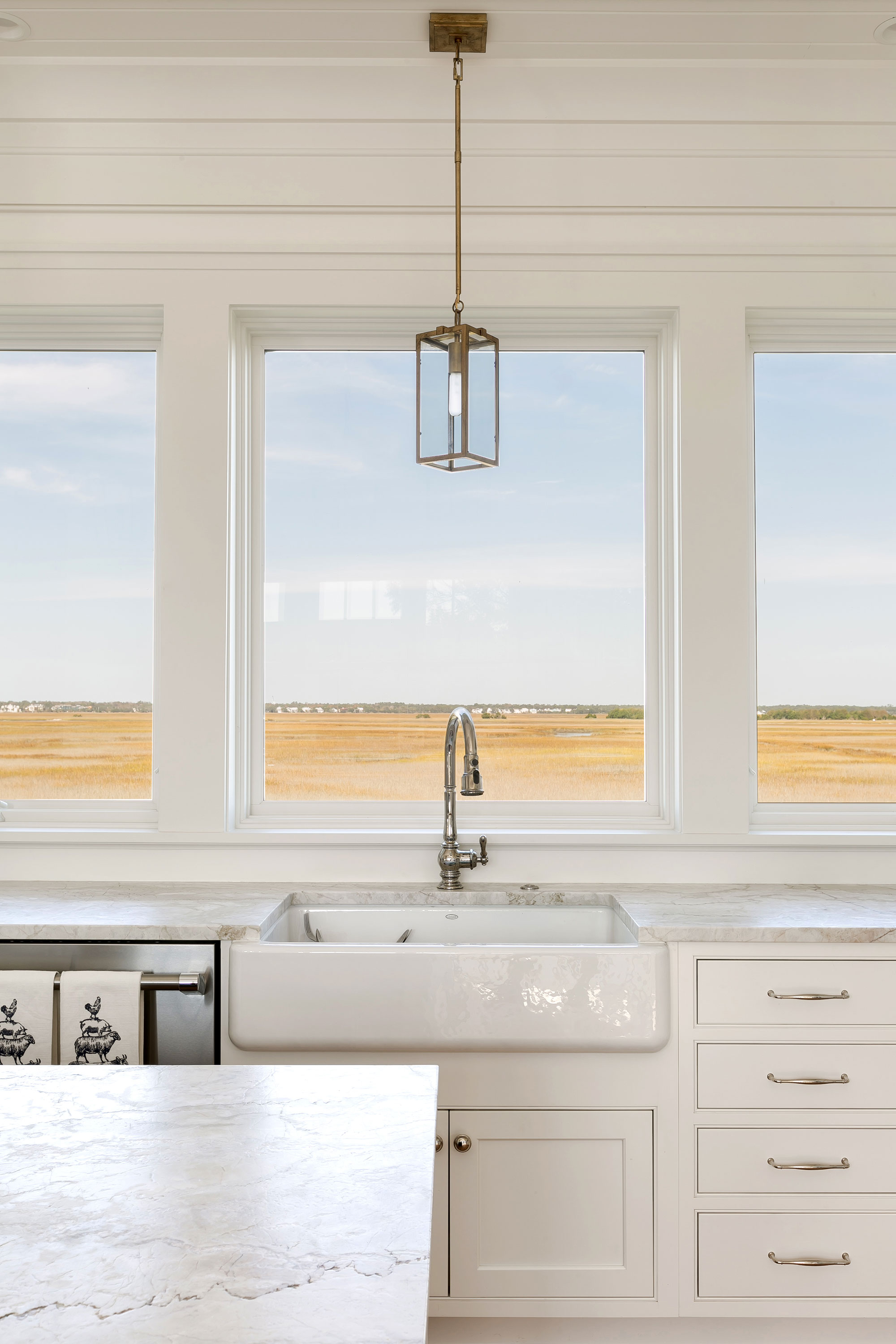 kitchen view cottage white pendant window
