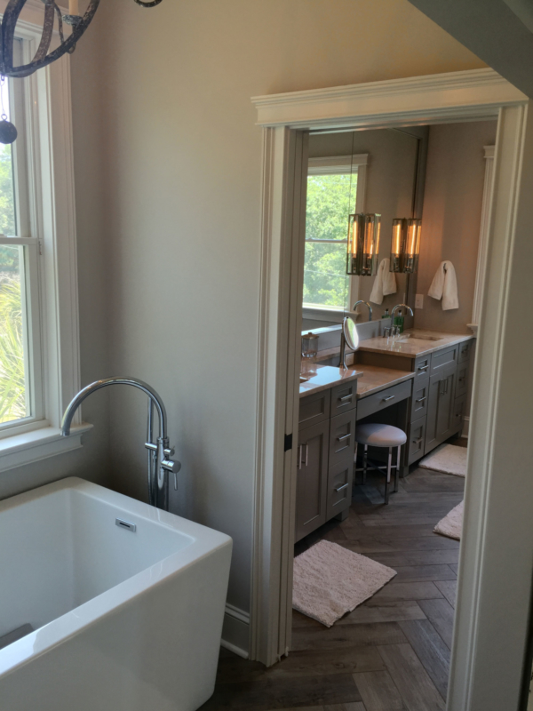 New master bath ensuite created by enclosing second story balcony and porch