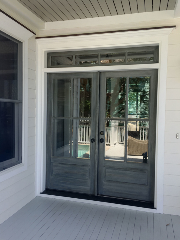New front door package with weathered finish and transom windows