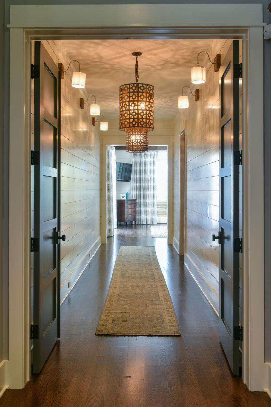 Shiplap and custom accent lighting in hallway