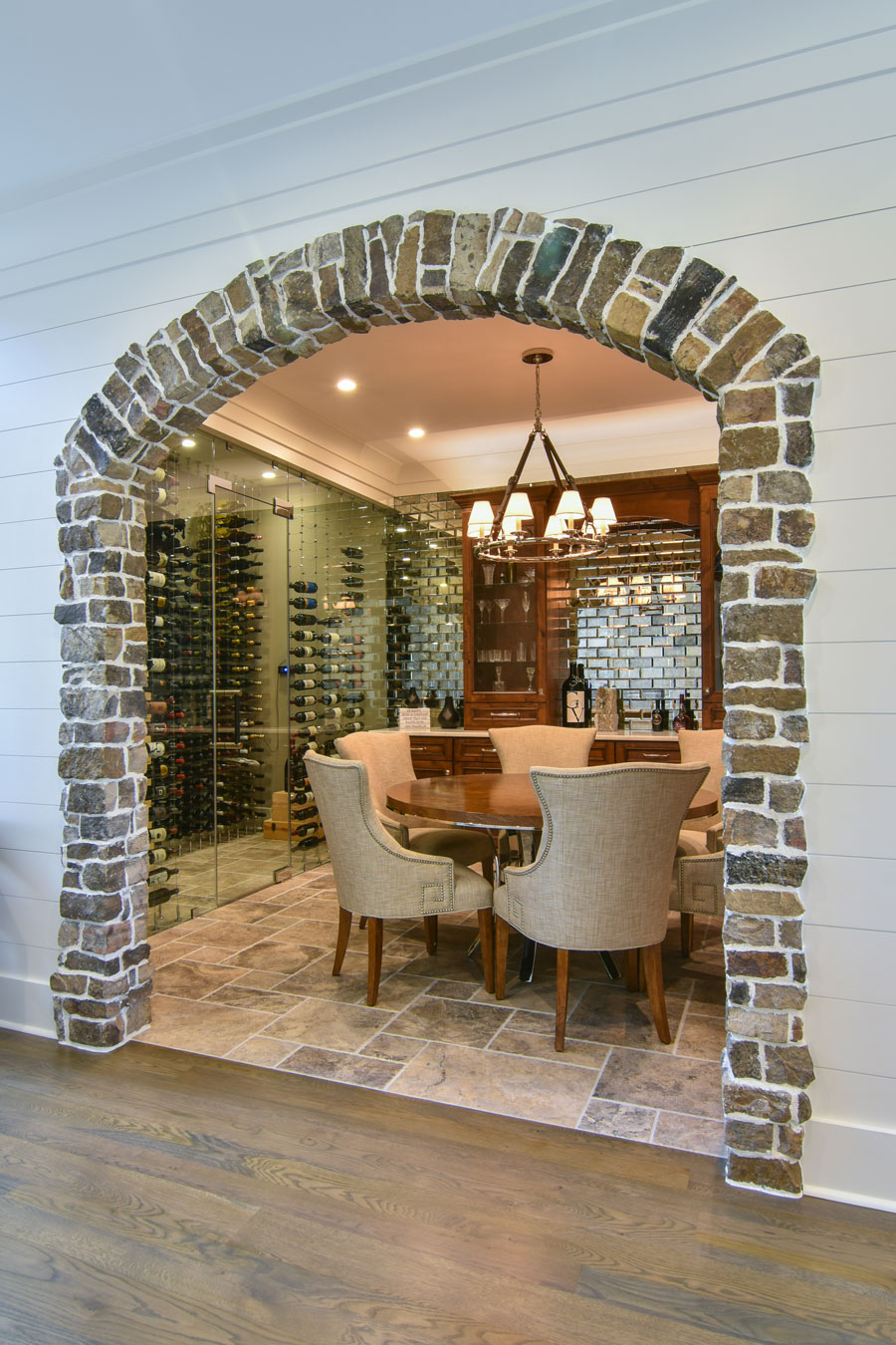 Stone arched doorway into wine tasting room
