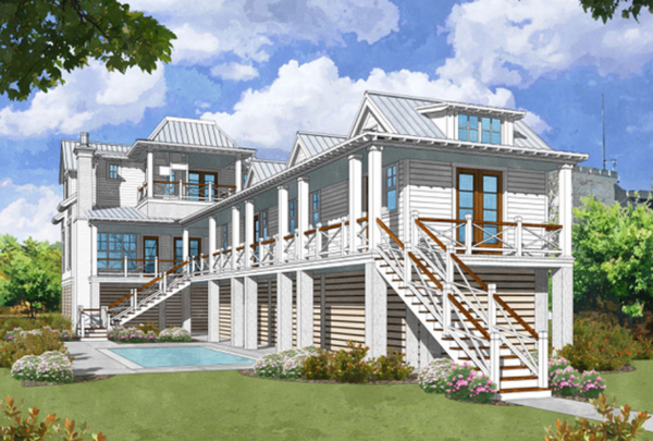 Custom, architect-designed home on Sullivan's Island with ocean view and front and rear street entrance