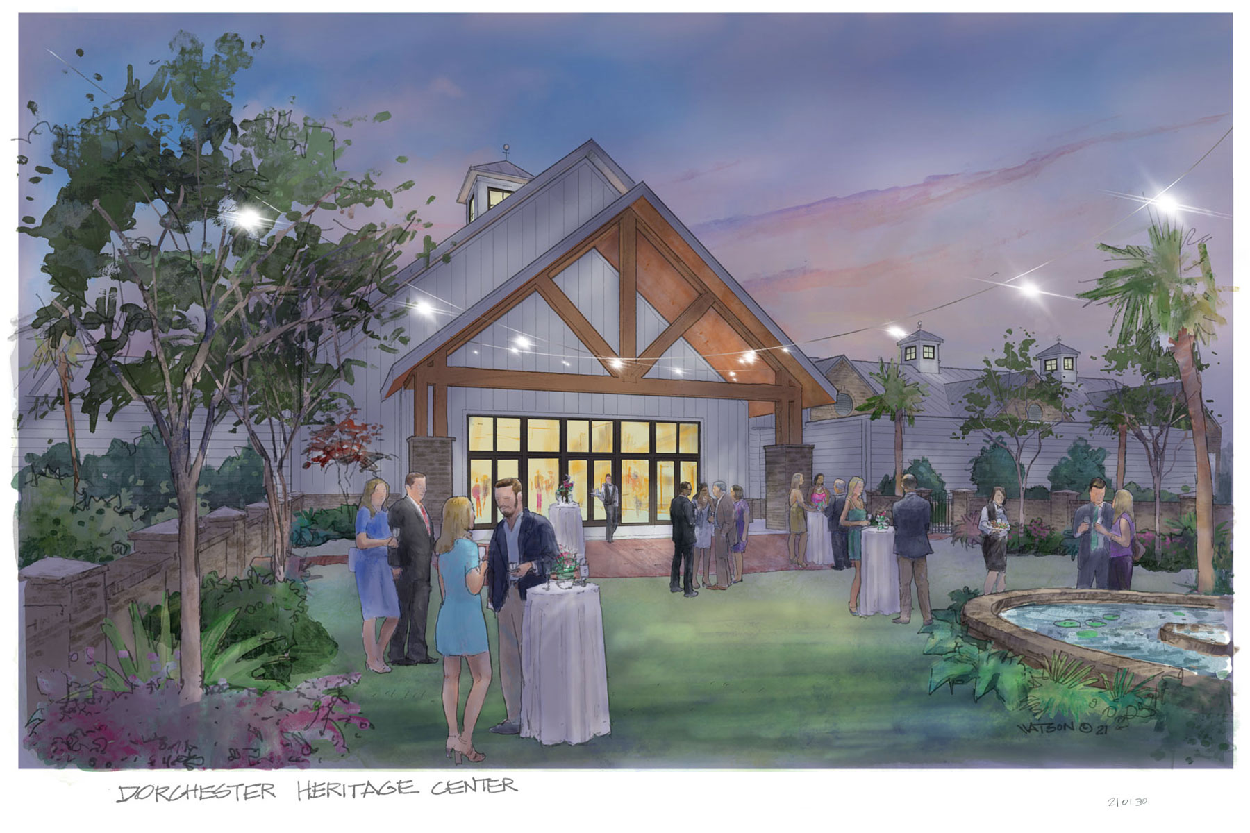 Rear view rendering of Dorchester County Heritage Center Dale Watson rendering of Swallowtail Architecture design