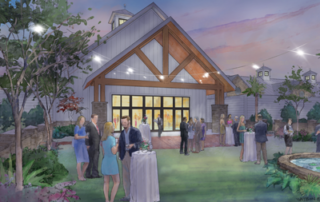 Rear view of Dorchester County Heritage Center Dale Watson rendering of Swallowtail Architecture design